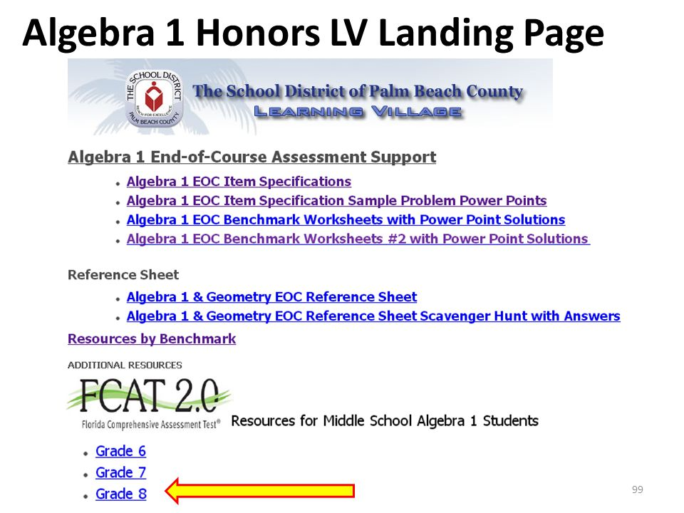 Algebra 1 Honors LV Landing Page 99