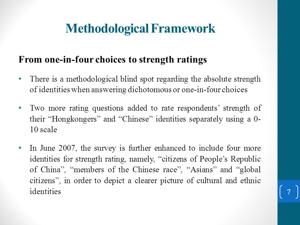 Ethnic Identity turned Political A six-point rebuttal: 1.Asking people to choose the most desired identities among four overlapped options, namely, Hongkongers , Chinese Hong Kong citizen , Chinese and Hong Kong Chinese citizen is not unreasonable, even though it may have problems of subsumption and inclusion 2.The results released come from two separate and independent questions, they are single-item questions which do not involve any logical problem 3.The scientific nature or logical dimension of a study is impossible to be changed with the political climate 18
