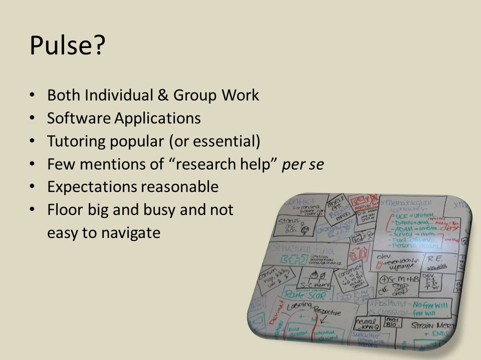 """Pulse? Both Individual & Group Work Software Applications Tutoring popular (or essential) Few mentions of """"research help"""" per se Expectations reasonab"""