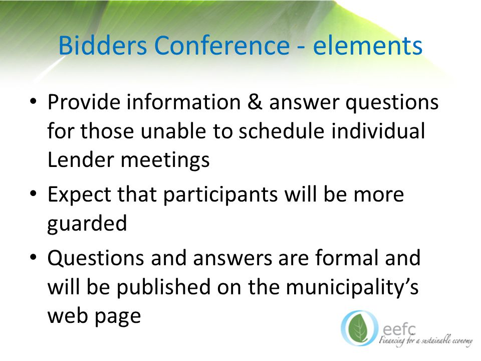 Bidders Conference - elements Provide information & answer questions for those unable to schedule individual Lender meetings Expect that participants will be more guarded Questions and answers are formal and will be published on the municipality's web page