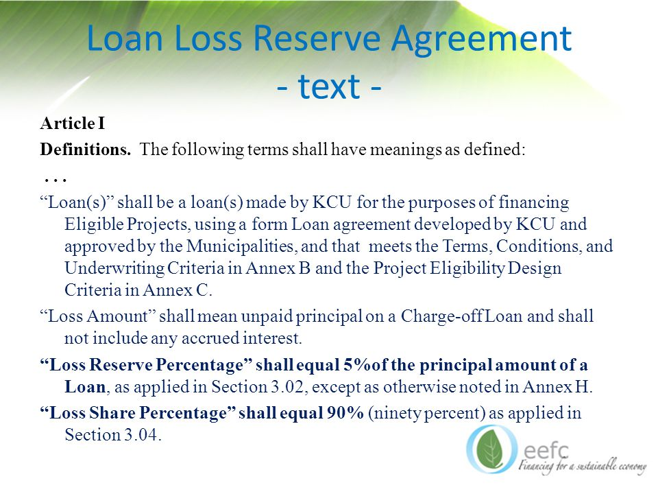 Loan Loss Reserve Agreement - text - Article I Definitions.