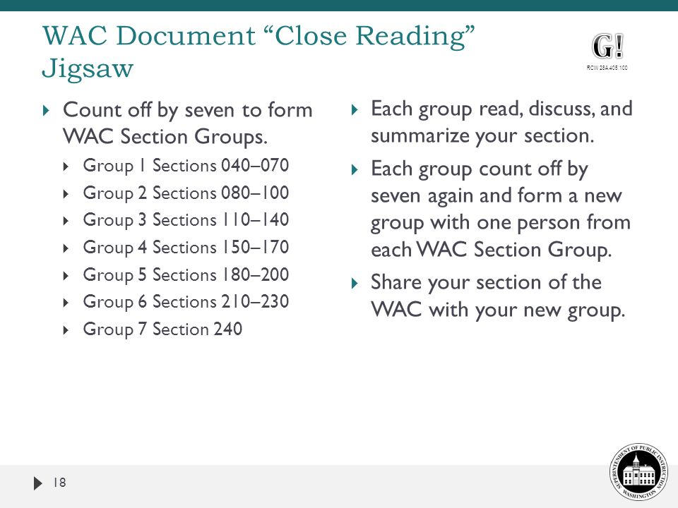 WAC Document Close Reading Jigsaw 18  Count off by seven to form WAC Section Groups.