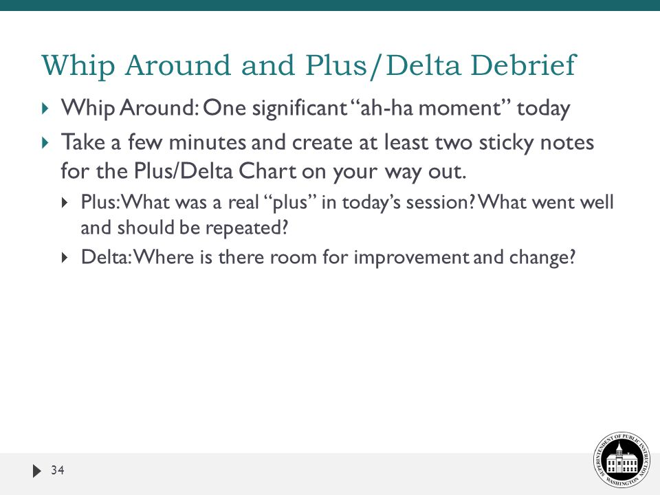 Whip Around and Plus/Delta Debrief  Whip Around: One significant ah-ha moment today  Take a few minutes and create at least two sticky notes for the Plus/Delta Chart on your way out.