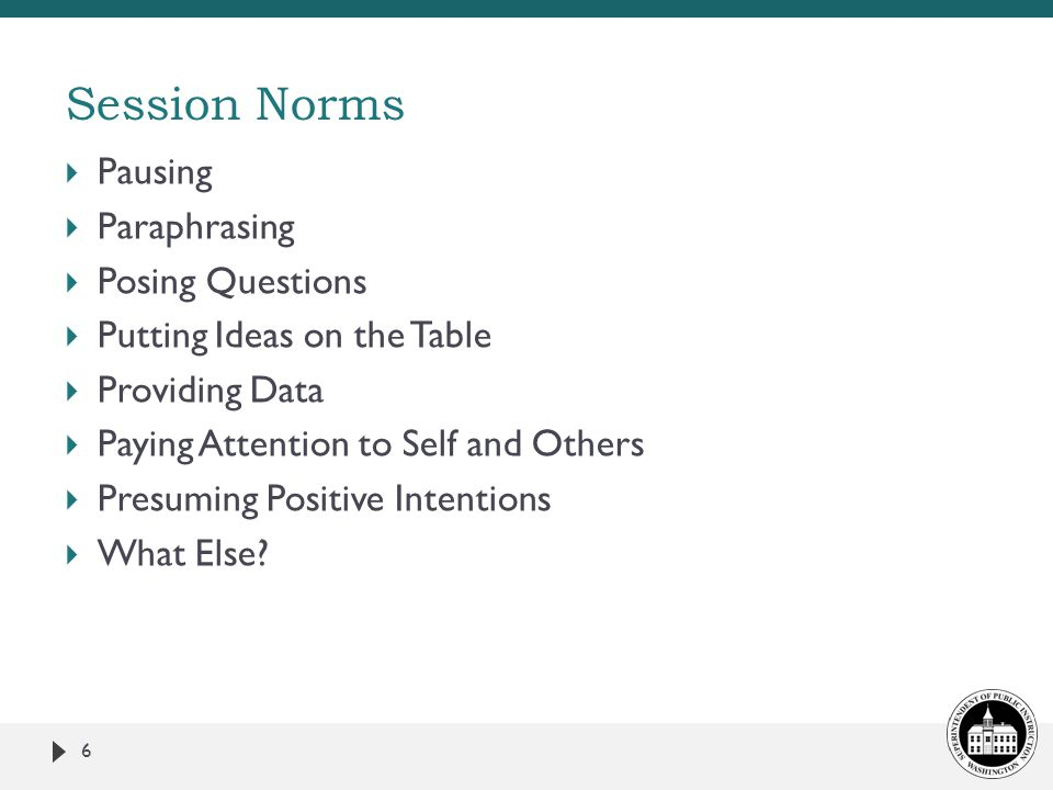 Session Norms  Pausing  Paraphrasing  Posing Questions  Putting Ideas on the Table  Providing Data  Paying Attention to Self and Others  Presuming Positive Intentions  What Else.