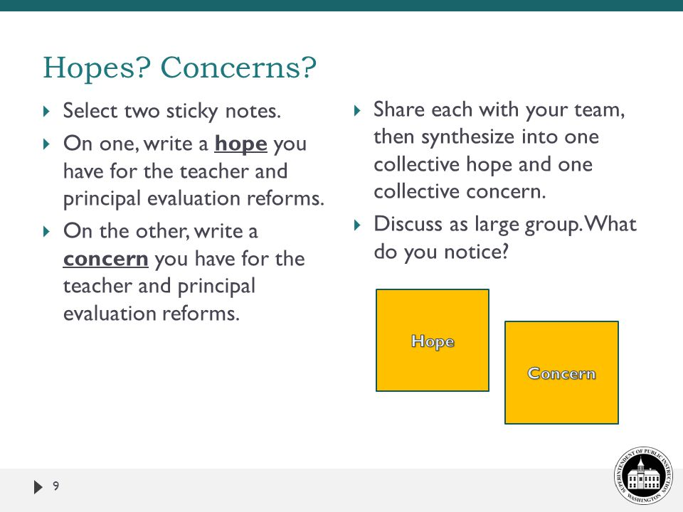 Hopes.Concerns. 9  Select two sticky notes.