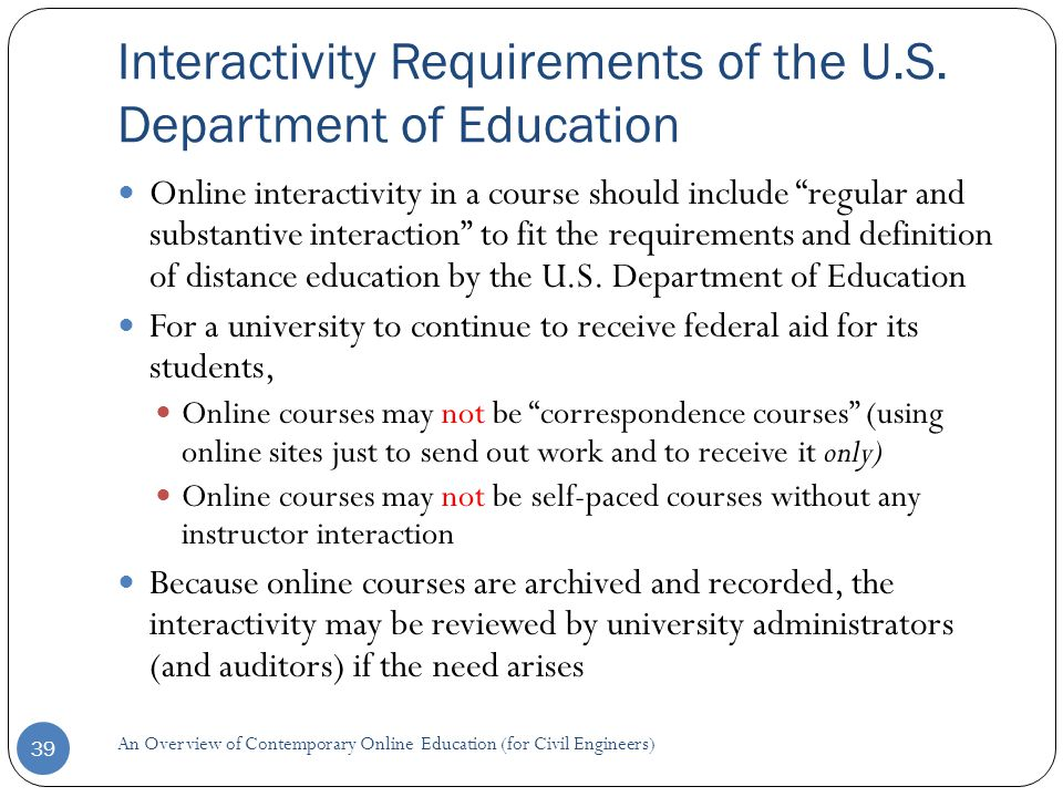 Interactivity Requirements of the U.S.