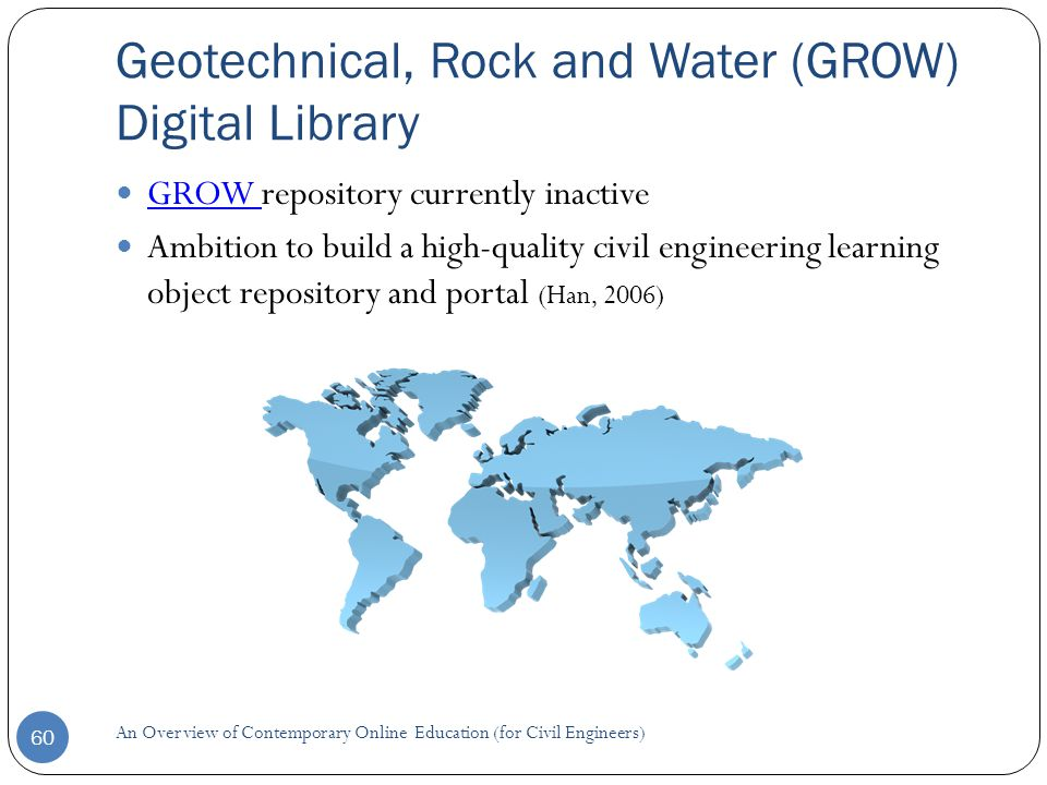 Geotechnical, Rock and Water (GROW) Digital Library 60 GROW repository currently inactive GROW Ambition to build a high-quality civil engineering learning object repository and portal (Han, 2006) An Overview of Contemporary Online Education (for Civil Engineers)