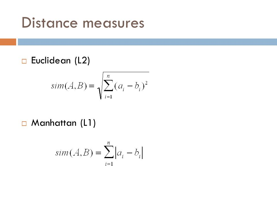 Distance measures  Euclidean (L2)  Manhattan (L1)