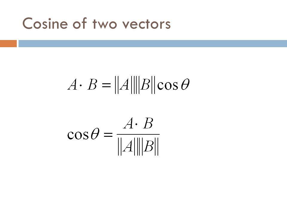 Cosine of two vectors