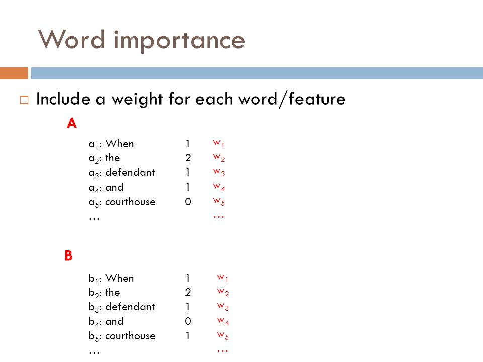 Word importance  Include a weight for each word/feature a 1 : When1 a 2 : the2 a 3 : defendant1 a 4 : and1 a 5 : courthouse0 … b 1 : When1 b 2 : the2 b 3 : defendant1 b 4 : and0 b 5 : courthouse1 … A B w1w2w3w4w5…w1w2w3w4w5… w1w2w3w4w5…w1w2w3w4w5…