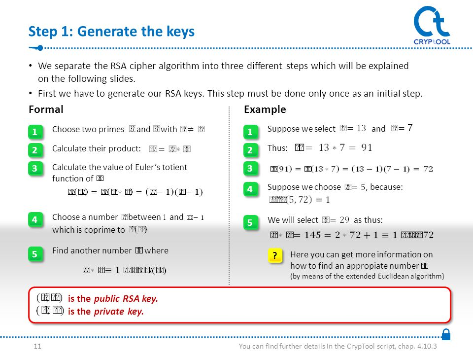 Step 1: Generate the keys We separate the RSA cipher algorithm into three different steps which will be explained on the following slides.