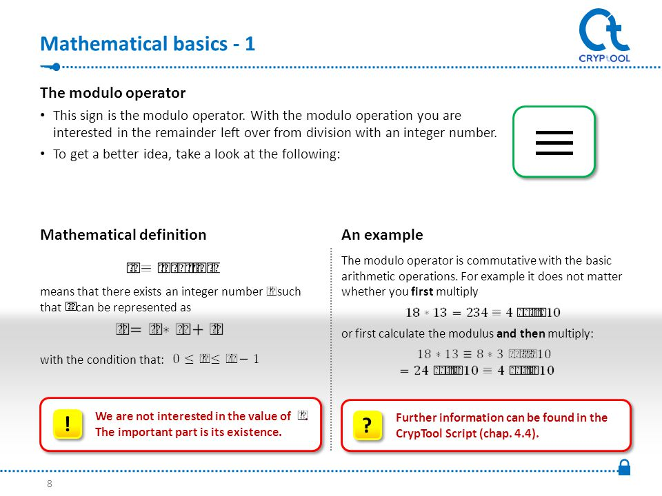 Mathematical basics - 1 Mathematical definition The modulo operator is commutative with the basic arithmetic operations.
