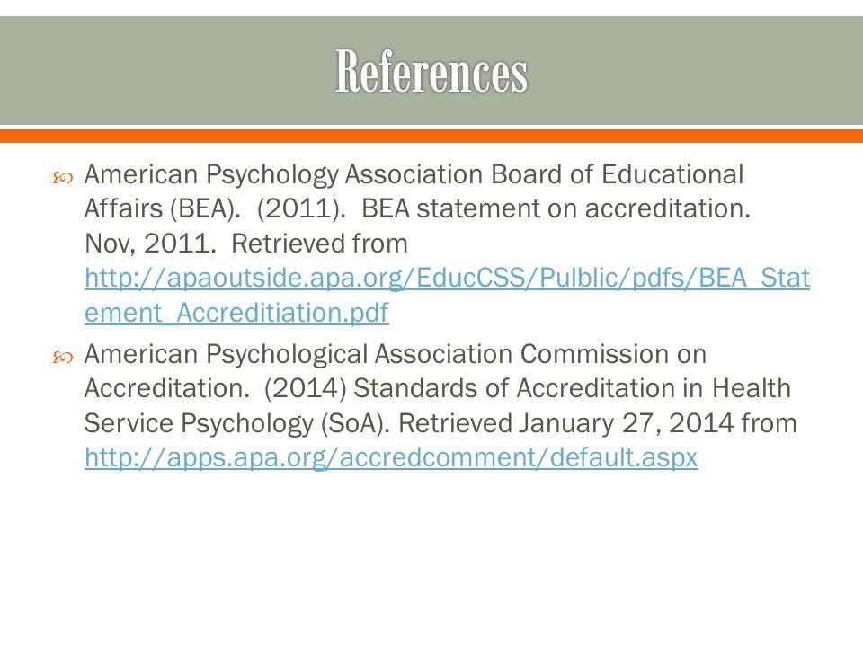  American Psychology Association Board of Educational Affairs (BEA).