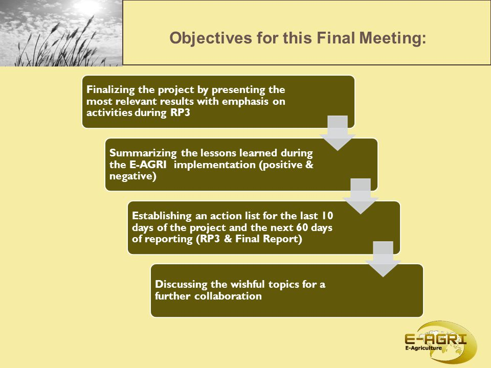 Objectives for this Final Meeting: Finalizing the project by presenting the most relevant results with emphasis on activities during RP3 Summarizing the lessons learned during the E-AGRI implementation (positive & negative) Establishing an action list for the last 10 days of the project and the next 60 days of reporting (RP3 & Final Report) Discussing the wishful topics for a further collaboration