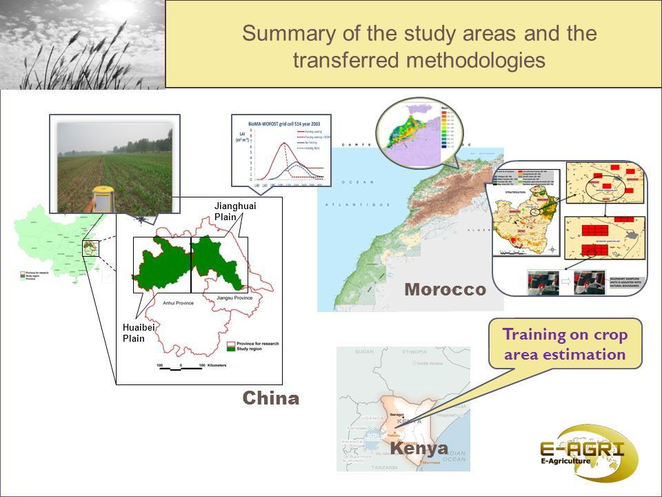 Summary of the study areas and the transferred methodologies Huaibei Plain Jianghuai Plain China Morocco Kenya CGMS / BioMA Training on crop area estimation