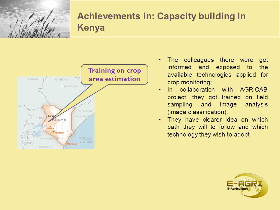 Achievements in capacity building : 8 thematic workshops / seminars