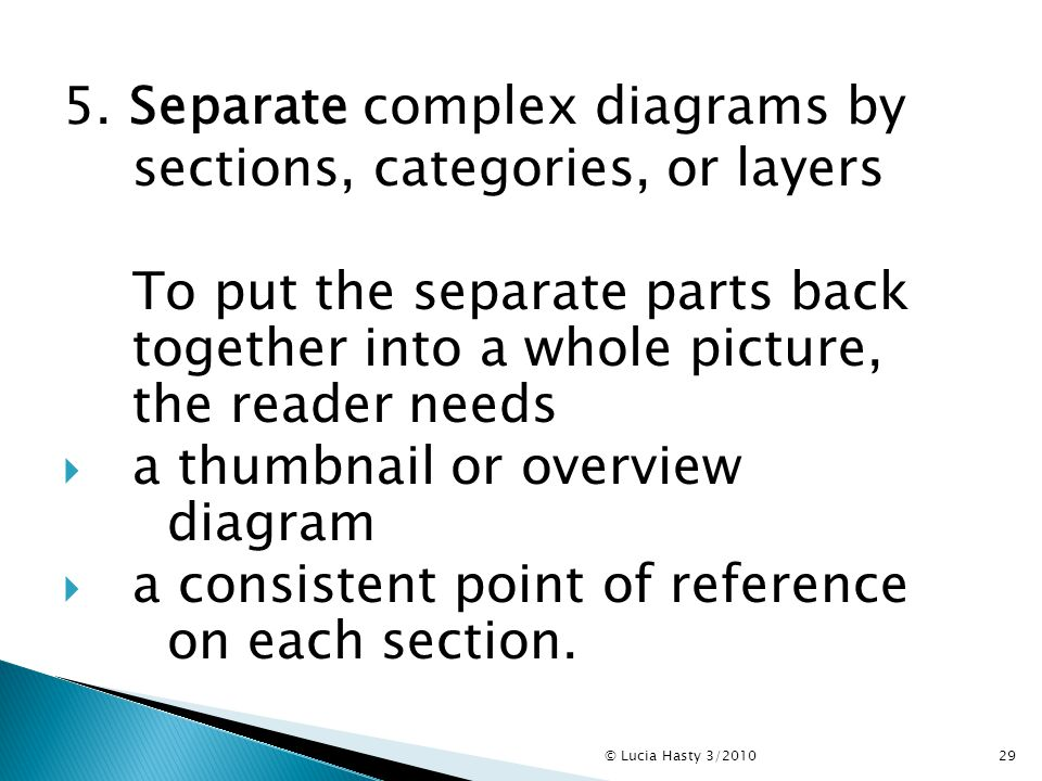 5. Separate complex diagrams by sections, categories, or layers To put the separate parts back together into a whole picture, the reader needs  a thu