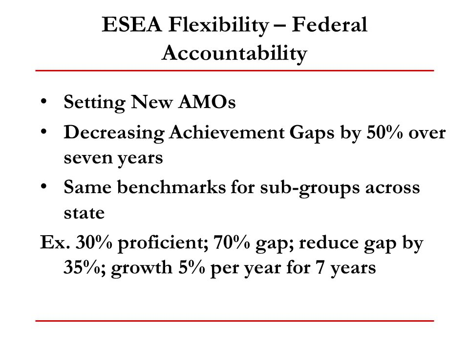 ESEA Flexibility – Federal Accountability Setting New AMOs Decreasing Achievement Gaps by 50% over seven years Same benchmarks for sub-groups across s