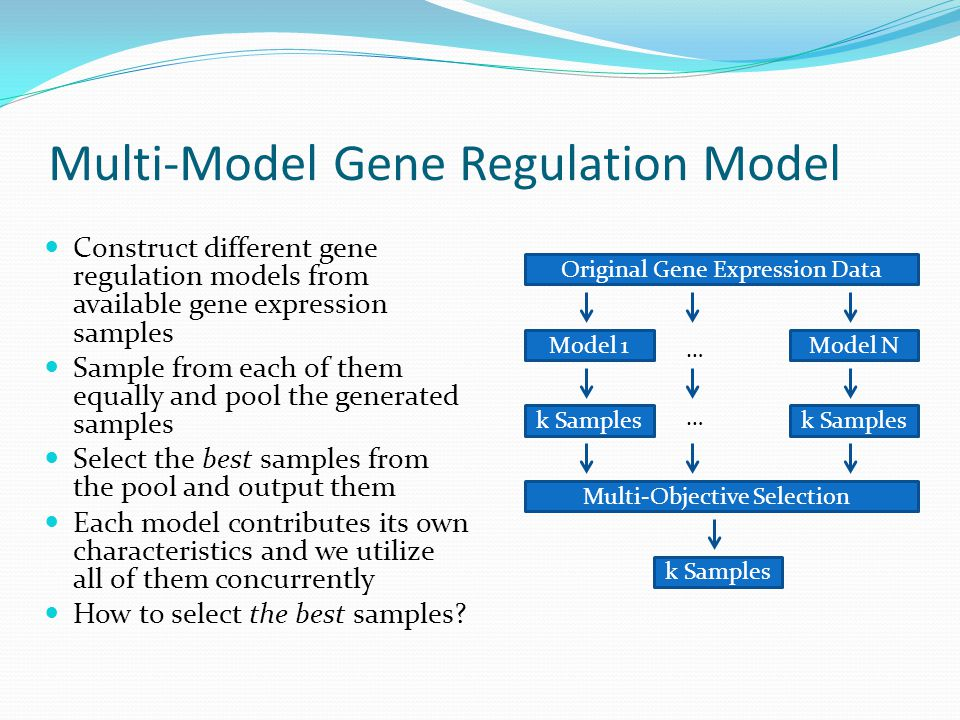Multi-Model Gene Regulation Model Construct different gene regulation models from available gene expression samples Sample from each of them equally and pool the generated samples Select the best samples from the pool and output them Each model contributes its own characteristics and we utilize all of them concurrently How to select the best samples.