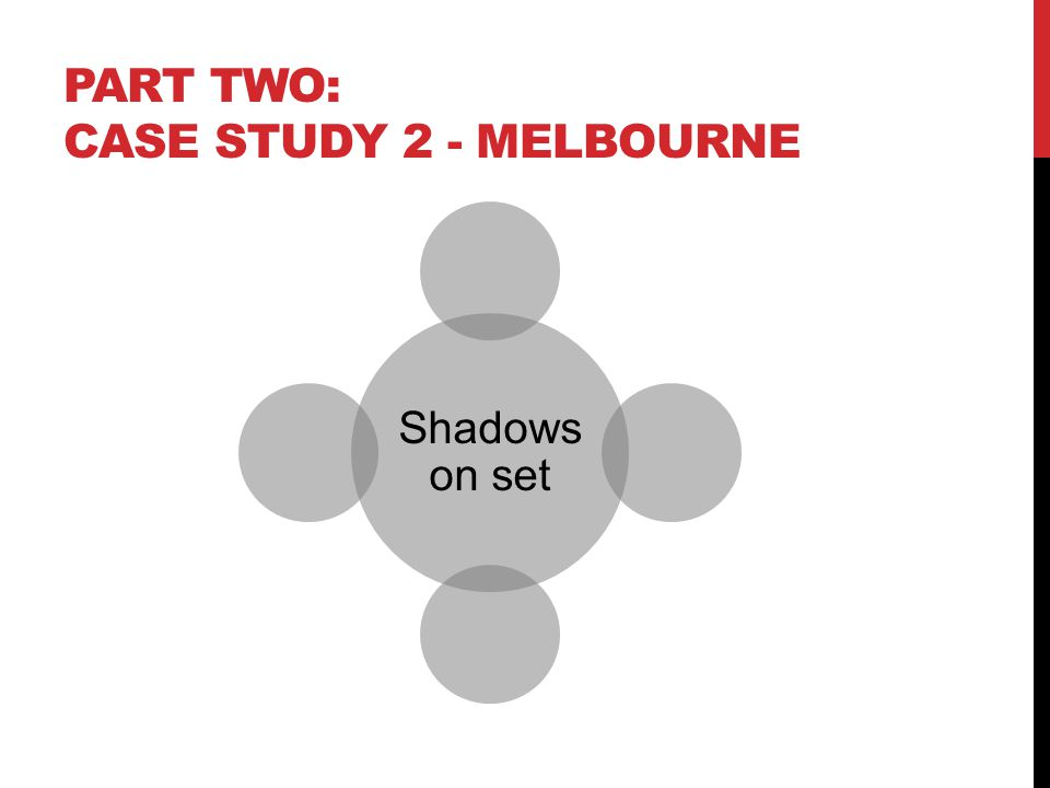 PART TWO: CASE STUDY 2 - MELBOURNE Shadows on set