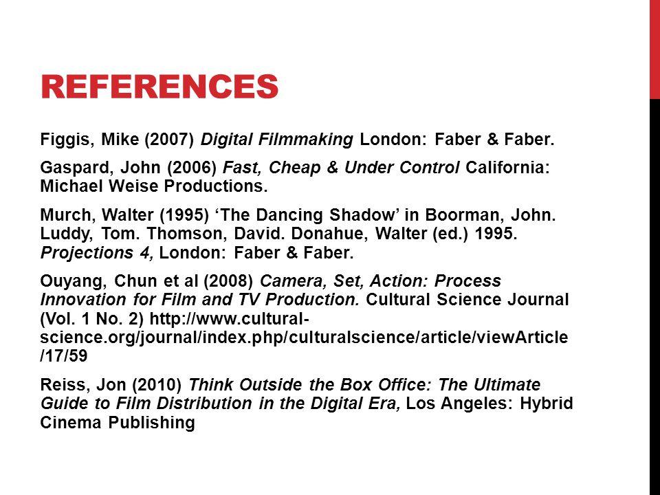 REFERENCES Figgis, Mike (2007) Digital Filmmaking London: Faber & Faber.