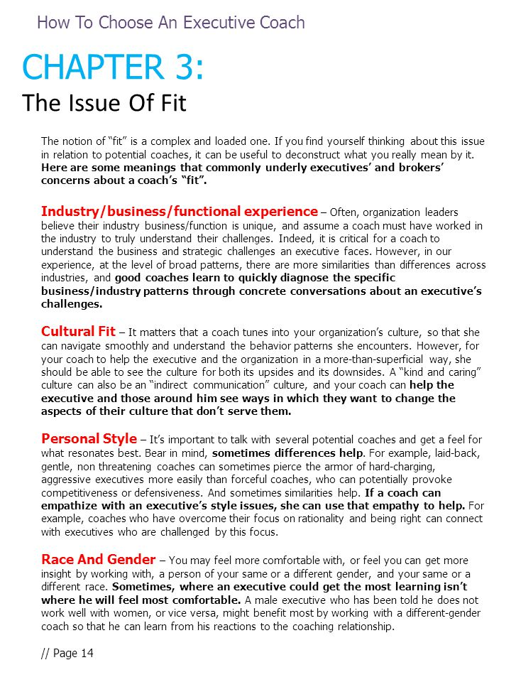 "CHAPTER 3: The Issue Of Fit The notion of ""fit"" is a complex and loaded one. If you find yourself thinking about this issue in relation to potential c"