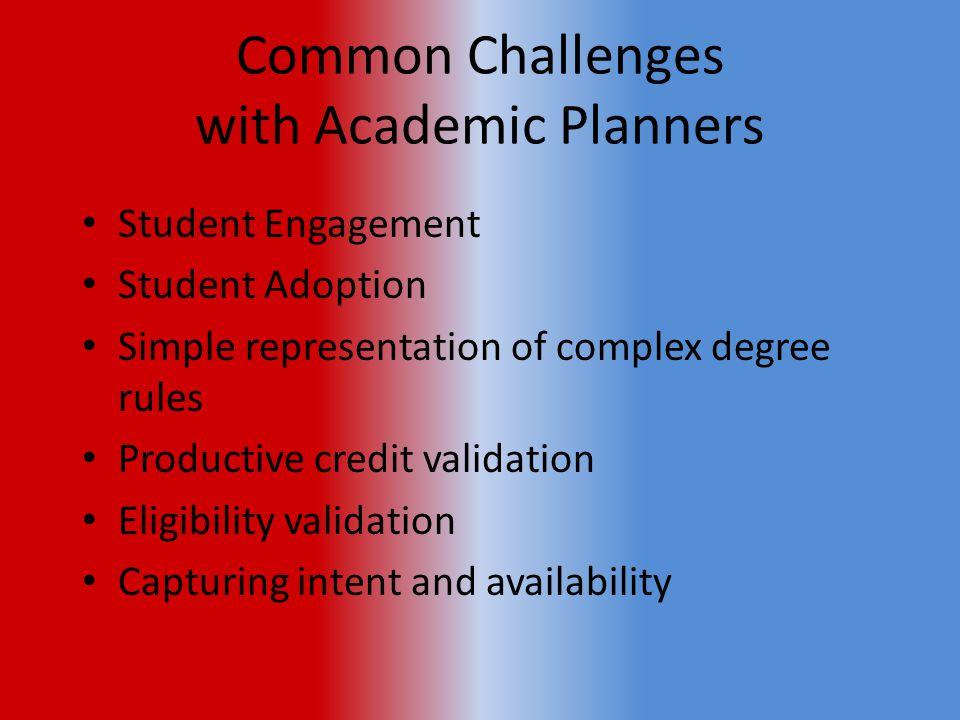 Common Challenges with Academic Planners Student Engagement Student Adoption Simple representation of complex degree rules Productive credit validation Eligibility validation Capturing intent and availability