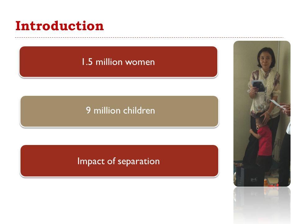 Introduction 1.5 million women 9 million children Impact of separation