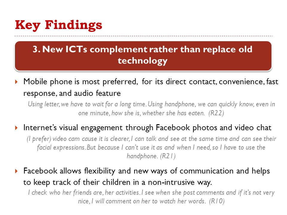 Key Findings  Mobile phone is most preferred, for its direct contact, convenience, fast response, and audio feature Using letter, we have to wait for a long time.