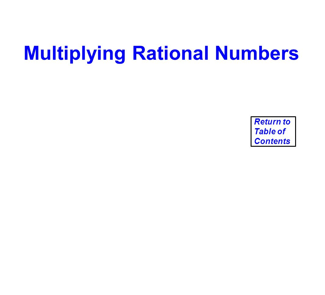Multiplying Rational Numbers Return to Table of Contents