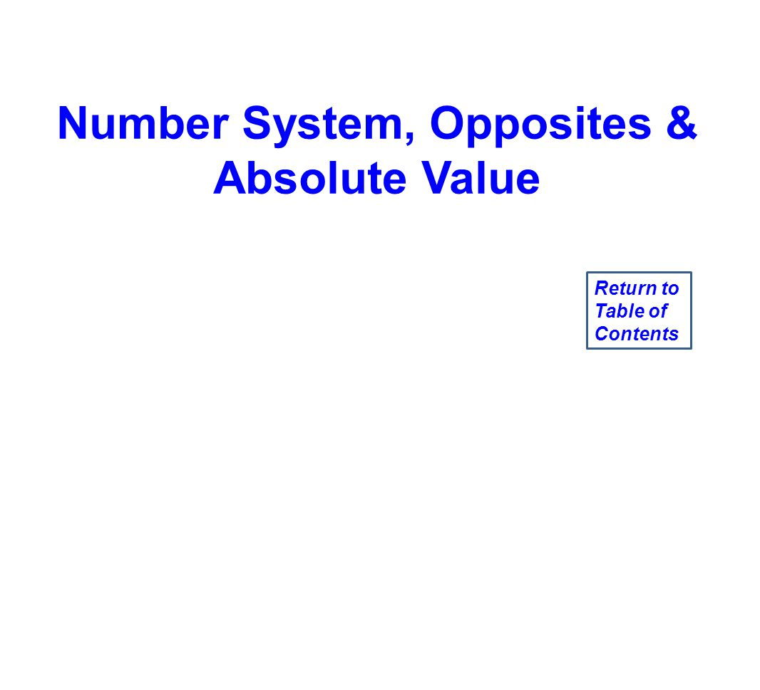 Number System, Opposites & Absolute Value Return to Table of Contents