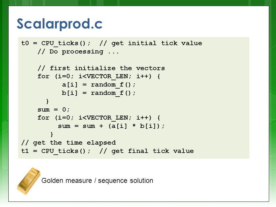 Scalarprod.c t0 = CPU_ticks(); // get initial tick value // Do processing... // first initialize the vectors for (i=0; i<VECTOR_LEN; i++) { a[i] = ran