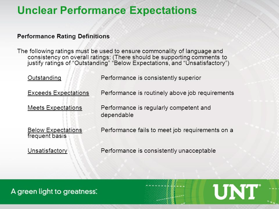 Unclear Performance Expectations Performance Rating Definitions The following ratings must be used to ensure commonality of language and consistency on overall ratings: (There should be supporting comments to justify ratings of Outstanding Below Expectations, and Unsatisfactory ) OutstandingPerformance is consistently superior Exceeds ExpectationsPerformance is routinely above job requirements Meets ExpectationsPerformance is regularly competent and dependable Below ExpectationsPerformance fails to meet job requirements on a frequent basis UnsatisfactoryPerformance is consistently unacceptable