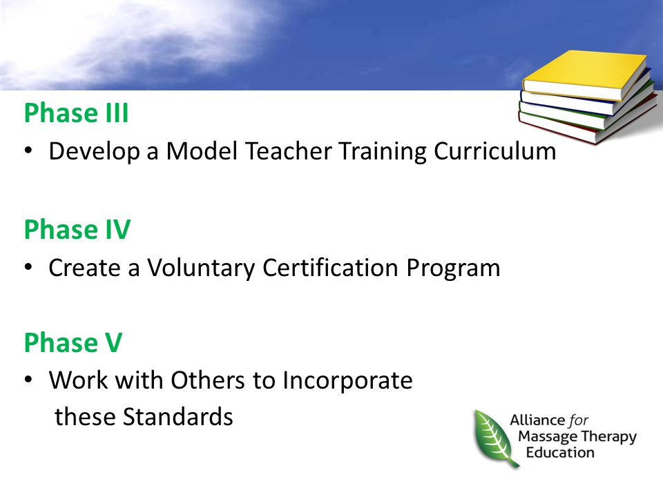 Phase III Develop a Model Teacher Training Curriculum Phase IV Create a Voluntary Certification Program Phase V Work with Others to Incorporate these