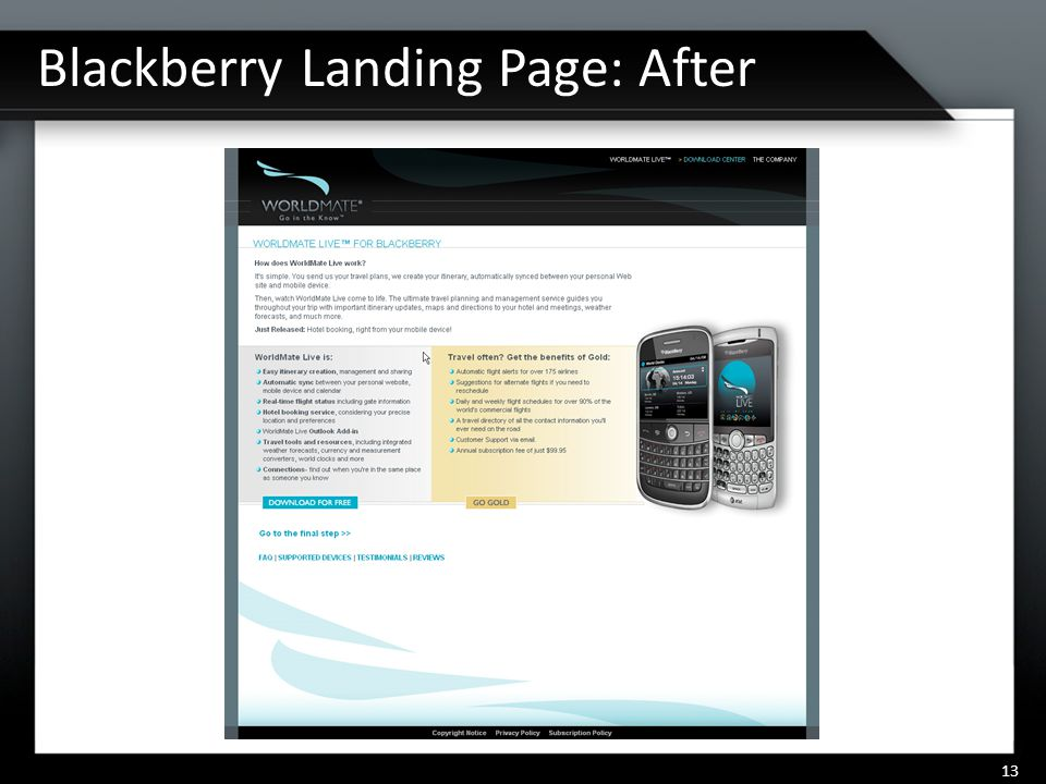 Blackberry Landing Page: After 13