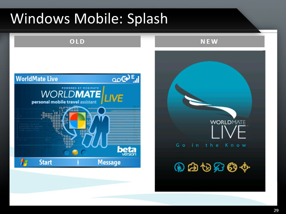 Windows Mobile: Splash 29 OLDNEW