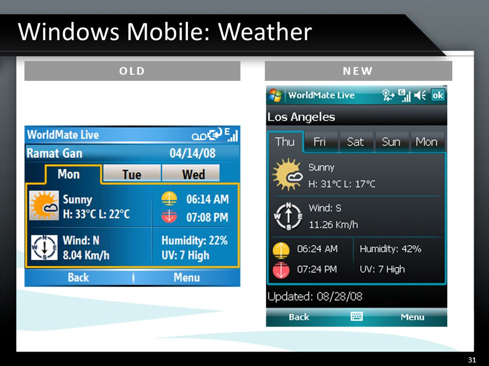 Windows Mobile: Weather 31 OLDNEW