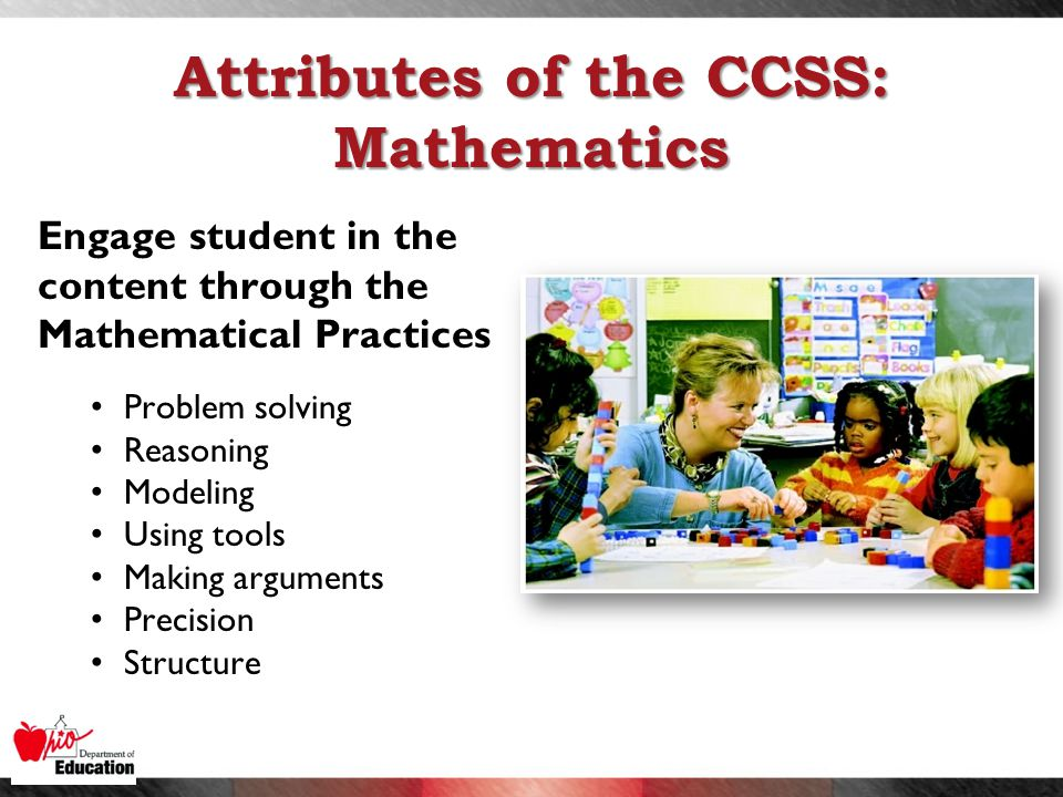 Attributes of the CCSS: Mathematics Engage student in the content through the Mathematical Practices Problem solving Reasoning Modeling Using tools Making arguments Precision Structure