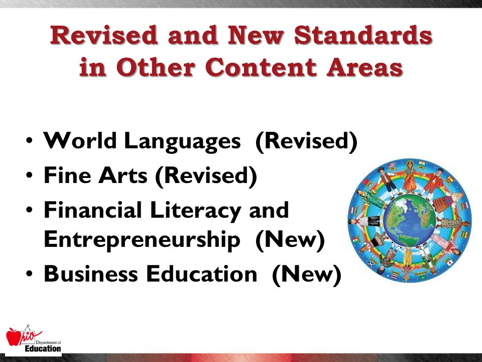 Revised and New Standards in Other Content Areas World Languages (Revised) Fine Arts (Revised) Financial Literacy and Entrepreneurship (New) Business Education (New)
