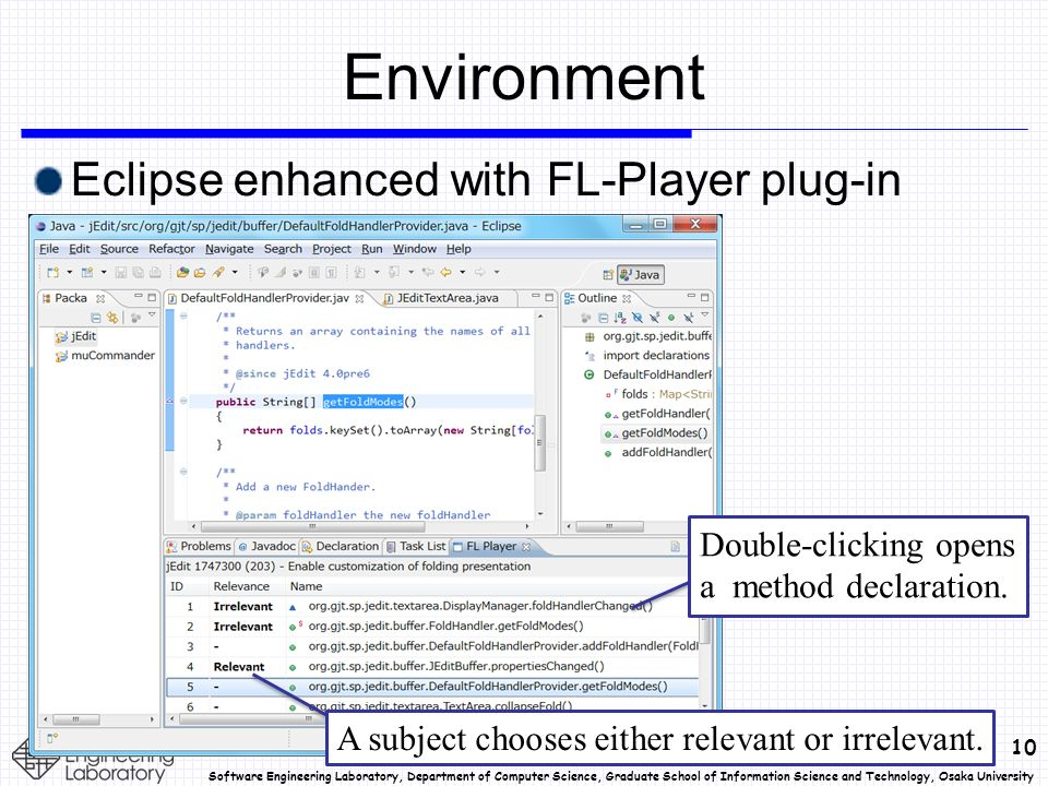 10 Software Engineering Laboratory, Department of Computer Science, Graduate School of Information Science and Technology, Osaka University Environment Eclipse enhanced with FL-Player plug-in Double-clicking opens a method declaration.