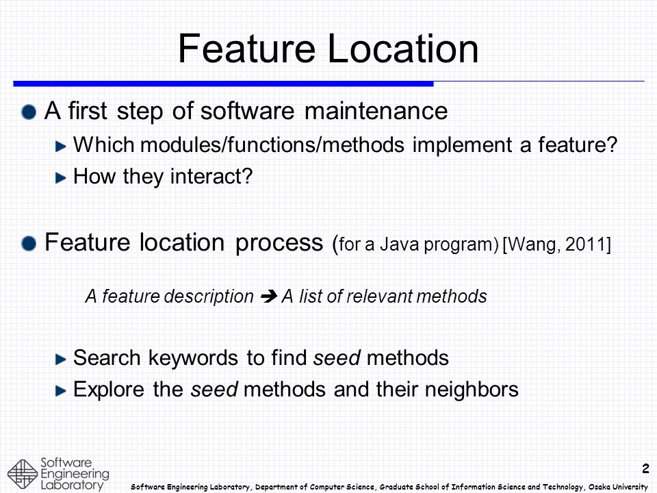 23 Software Engineering Laboratory, Department of Computer Science, Graduate School of Information Science and Technology, Osaka University Curation of Goldset Some list of goldset methods included non- existent methods.