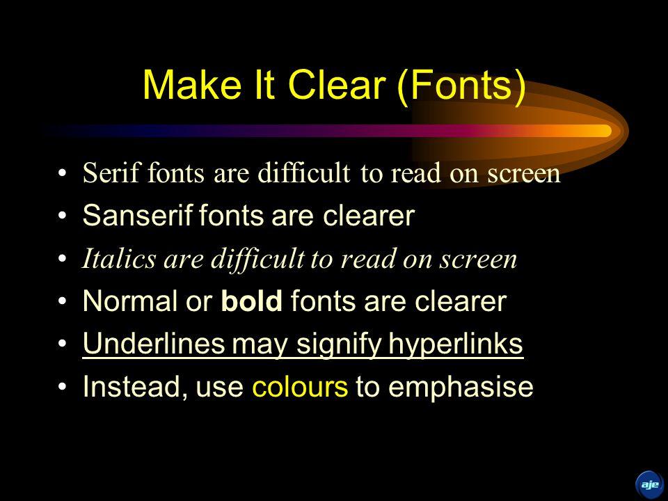Sanserif Z Serif Z Make It Clear (Fonts) busy clear