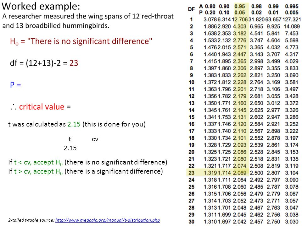 t was calculated as 2.15 (this is done for you) t cv 2.15 If t < cv, accept H 0 (there is no significant difference) If t > cv, accept H 0 (there is a significant difference) 2-tailed t-table source: http://www.medcalc.org/manual/t-distribution.phphttp://www.medcalc.org/manual/t-distribution.php
