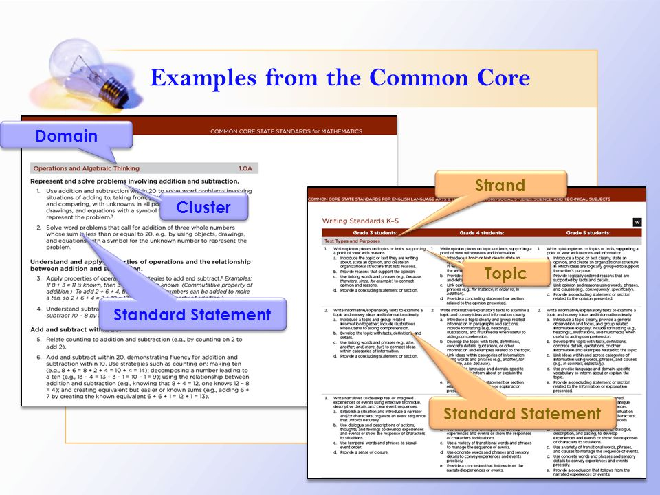 Examples from the Common Core Domain Cluster Standard Statement Topic Strand