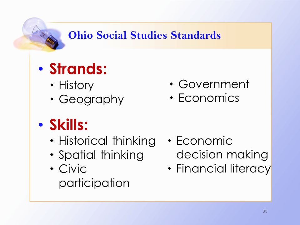 Ohio Social Studies Standards Strands:  History  Geography Skills:  Historical thinking  Spatial thinking  Civic participation 30  Government 