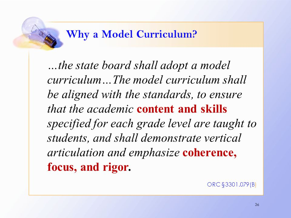 Why a Model Curriculum? …the state board shall adopt a model curriculum…The model curriculum shall be aligned with the standards, to ensure that the a