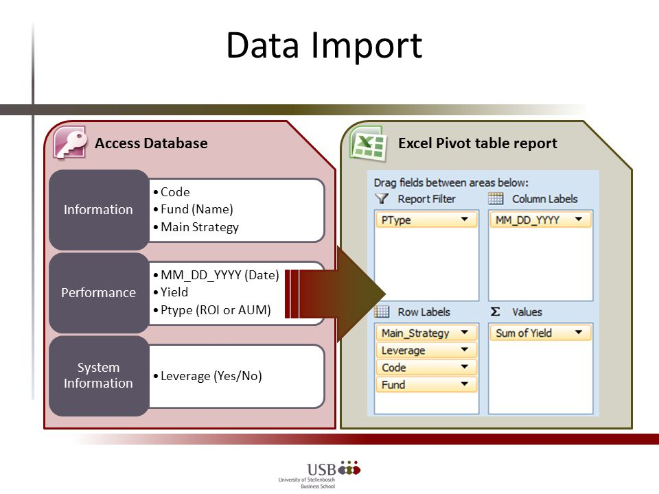 Data Import Code Fund (Name) Main Strategy Information MM_DD_YYYY (Date) Yield Ptype (ROI or AUM) Performance Leverage (Yes/No) System Information Access DatabaseExcel Pivot table report