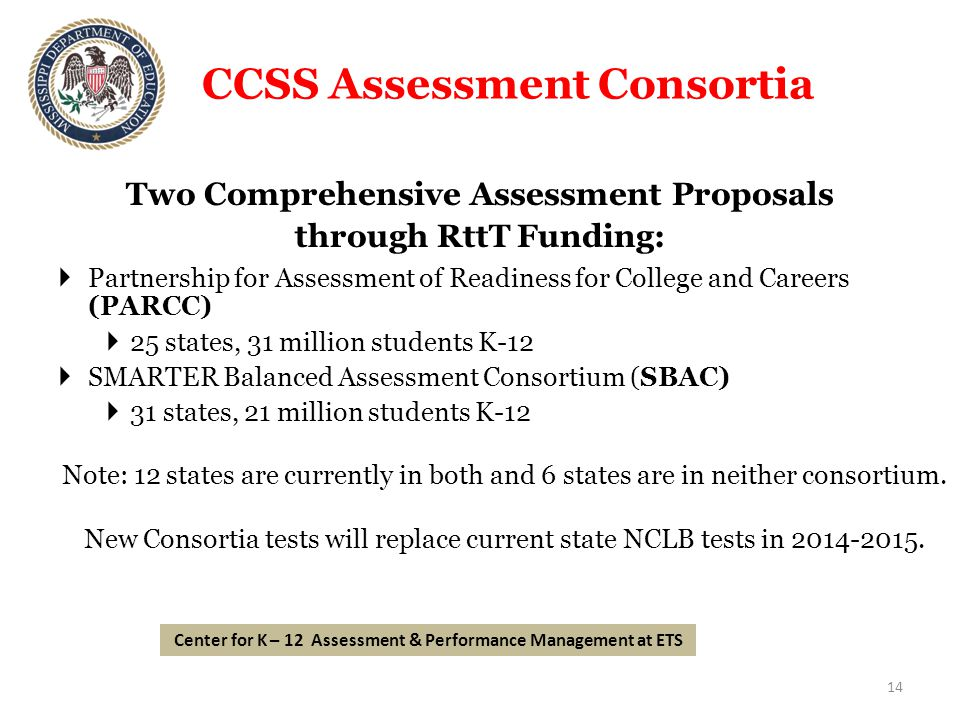 CCSS Assessment Consortia Two Comprehensive Assessment Proposals through RttT Funding:  Partnership for Assessment of Readiness for College and Careers (PARCC)  25 states, 31 million students K-12  SMARTER Balanced Assessment Consortium (SBAC)  31 states, 21 million students K-12 Note: 12 states are currently in both and 6 states are in neither consortium.