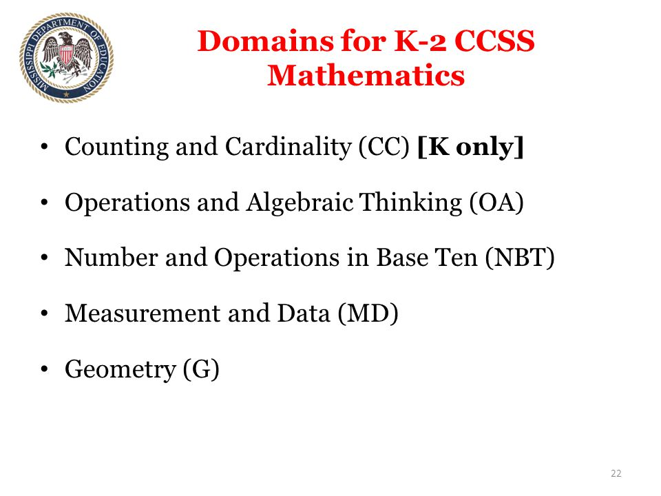 Domains for K-2 CCSS Mathematics Counting and Cardinality (CC) [K only] Operations and Algebraic Thinking (OA) Number and Operations in Base Ten (NBT) Measurement and Data (MD) Geometry (G) 22