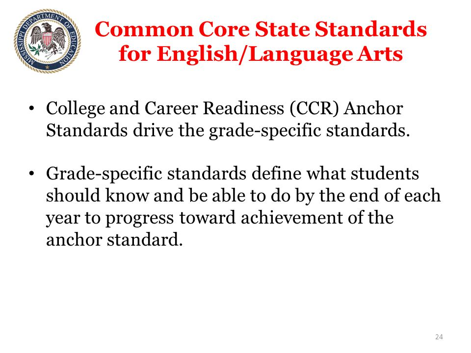 Common Core State Standards for English/Language Arts College and Career Readiness (CCR) Anchor Standards drive the grade-specific standards.